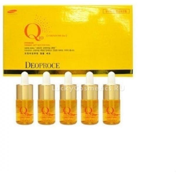 Q Deoproce Coenzyme Q Firming Ampoul SetСыворотка в ампулках, с коэнзимом Q10, морским коллагеном и гиалуроновой кислотой Deoproce Coenzyme Q10 Firming Ampoul Set подтягивает кожу, делая ее более эластичной, уменьшает количество морщин, защищает кожу от пересушивания, ограждает от неблагоприятного воздействия экологии и ультрафиолета. Коэнзим Q10 укрепляет и улучшает структуру кожи, нормализует процессы обмена, сокращает количество мимических морщин, делая их менее заметными, обладает противовоспалительным эффектом и участвует в обмене веществ, обеспечивая клетки кожи кислородом. Он является сильным антиоксидантом и способен не только нейтрализовать свободные радикалы, но и активировать функции других антиоксидантов, таких как витамин Е. Коэнзим Q10 насыщает кожу влагой, увеличивая упругость кожи, легко проходит даже в глубокие слои кожи и ссужает поры. Гиалуроновая кислота сформировывает на коже тонкую пленку, которая поддерживает природную увлажненность дермы, не вызывая при этом неприятных ощущений. Морской коллаген - это белок входящий в строение соединительных тканей, он повышает прочность и упругость кожи. Постоянное применение Ампульной сыворотки для лица Deoproce Coenzyme Q10 Firming Ampoul Set улучшит структуру кожи, повысит эластичность, придаст коже свежий сияющий оттенок и защитит кожу от преждевременного старения.Объём: 10mlx5Способ применения:Нанести на очищенную кожу лица и дождаться полного впитывания, не смывать.<br>