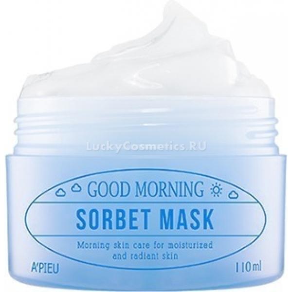 APieu Good Morning Sorbet MaskМаска-сорбет Good Morning от A&amp;#39;Pieu дарит коже утренний заряд бодрости и подготавливает ее к долгому насыщенному дню. Она обладает легкой текстурой, которая быстро тает и моментально впитывается в эпидермис, достигая клеток дермы. Маска прекрасно освежает лицо и обеспечивает кожу комплексным питанием.<br><br>На 10% Sorbet Mask состоит из талой ледниковой воды Аляски. Ее уникальный минеральный состав и экологическая чистота с благодарностью воспринимаются кожей, так уставшей от загрязненной воды из городского водопровода.<br><br>Следующие 10% маски-сорбета отведены под экстракт тыквы. Этот ярко-оранжевый плод богат витаминами (A, B9, E), омега-6, аланином, цинком, магнием и другими полезными веществами. Тыква заботится о чистоте и питании кожи, устраняет раздражения и смягчает огрубевшие участки.<br><br>Коллаген выравнивает рельеф кожи, защищает клетки от излишней потери влаги и продлевает действие остальных ухаживающих ингредиентов.<br><br>Маска не требует смывания, так как практически полностью усваивается кожными покровами, не оставляя ощущения липкой пленки.<br><br>&amp;nbsp;<br><br>Объём: 110 мл<br><br>&amp;nbsp;<br><br>Способ применения:<br><br>После процедуры утреннего умывания тонким слоем распределить по коже лица маску. После того, как она впитается, можно приступать к нанесению макияжа.<br>