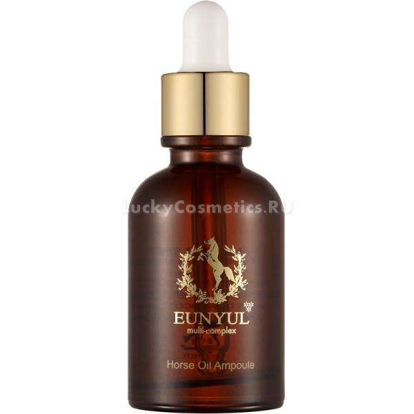 Eunyul Horse Oil AmpouleВ настоящее время в уходе за кожей стремительно набирают популярность всевозможные сыворотки для лица, которые дают видимый эффект уже с первого применения и содержат в составе множество натуральных активных компонентов. К этой категории можно отнести и питательную сыворотку для лица Eunyul Ampoule, способную за короткий срок не только придать личику свежий и отдохнувший вид, но и замедлить процессы старения. Концентрат Horse Oil от известного корейского бренда произведен на основе ценнейшего конского жира, известного своими питательными свойствами. Продукт надежно защитит кожу от леденящего ветра, палящего солнца и другого негативного воздействия окружающей среды, причем подойдет не только сухой и зрелой, но и проблемной коже, которую тоже нужно увлажнять. Буквально через пару минут после нанесения можно заметить, как исчезла сухость и чувство стянутости, тон лица сделался более ровным и здоровым. Благодаря тщательно продуманной формуле, сыворотка активизирует процессы восстановления и заживления, стимулирует выработку коллагена и эластана, удерживает влагу и не дает коже испытывать недостаток питательных веществ. Приятная легкая текстура средства быстро впитывается и дает коже дышать, что положительно сказывается на ее внешнем виде.Объём: 30 мл.Способ применения:Нанести 3-4 капли на чистую кожу, распределить по массажным линиям и дождаться полного впитывания. Следующим шагом возможно нанесения крема для лица. Использовать утром и вечером для достижения стойкого результата.<br>