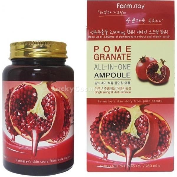 Farmstay Pomegranate AllIn One AmpouleЕжедневно и ежечасно в коже накапливаются свободные радикалы, оказывающие крайне негативное воздействие на кожу, нарушающие процессы выработки коллагена и эластина, провоцируя преждевременное старение. Нейтрализовать воздействие радикалов можно при помощи антиоксидантов, которыми богата сыворотка Farmstay All-In One. Этот продукт подойдет для любого типа кожи и надежно защитит личико от воздействия плохой экологии, вредного ультрафиолетового излучения и других погодных условий. Легкая невесомая текстура продукта быстро впитывается, не забивая поры и не оставляя липкого налета, что позволяет использовать ее даже под макияж. Основным компонентом средства Ampoule является сильный антивозрастной компонент Pomegranate - экстракт граната, способный улучшить микроциркуляцию крови, простимулировать процессы регенерации и сделать менее выраженными мимические морщинки и неприятные «гусиные лапки».  Гранат богат также и фруктовыми кислотами, способными мягко отшелушить кожу, не травмируя ее при этом, а также сделать менее выраженной пигментацию кожи. Антиоксидантную сыворотку с грантом от Farmstay можно смело назвать универсальной и мультифункциональной, ведь одна баночка способна заменить и тоник, и дневной уход.Объём: 250 мл.Способ применения:Небольшое количество средства нанести на очищенное лицо, распределить по массажным линиям, не растягивая кожу, и избегая области вокруг глаз.<br>