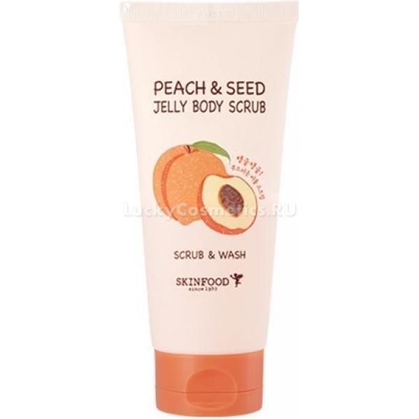 Скраб-гель для тела с экстрактом персика SkinFood Peach&amp;Seed Jelly Body ScrubЗамечательный продукт, подходит тем, кто любит ухаживать за собой, заботясь о молодости и здоровье.<br>Скраб в форме геля, выполняет сразу две функции – глубоко проникает в слои кожи, качественно отшелушивая ороговевшие клеточки, а также заменяет гигиеническое средство. Jelly Body изготовлен исключительно из натуральных компонентов:<br>Персиковый экстракт – насыщает клетки энергией, сохраняет необходимую влагу, обогащает витаминами, делая ее приятной и гладкой на ощупь.<br>Порошок из измельченной скорлупы грецкого, кокосового орехов и персиковых косточек - глубоко проникает в кожу, избавляя ее от загрязнений, удаляет мертвые клетки, тем самым, обеспечивая здоровый вид.<br>Цедра цитрусовых, миндальное масло – включают в себя природные антиоксиданты, замедляют старение.<br>Постоянное использование гелевого скраба с персиковым экстрактом Peach&amp;Seed Scrub, заметно омолаживает кожу, избавляя ее от признаков старения, насыщает витаминами, обладает успокоительным эффектом, защищает от покраснений и эффекта стянутости. Кожа становится эластичной, упругой, увлажненной, улучшается циркуляция крови, значительно улучшается ее цвет.Объём: 200 гр.Способ применения:Средство наносится на мокрую или сухую поверхность кожи (для достижения лучшего эффекта и более интенсивного очищения), легкими массирующими движениями, до образования множества пузырьков, после чего, его необходимо смыть теплой водой.<br>