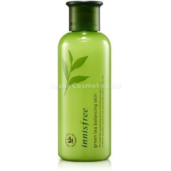 Тоник для лица Innisfree Green Tea Balancing SkinНе секрет, что жирная и сухая кожа требуют особого ухода, но и нормальная нуждается в средствах, которые могли бы позволить ей оставаться молодой и красивой. Косметический бренд Innisfree представляет балансирующий тоник на основе зеленого чая и других полезных растительных экстрактов Green Tea Skin.<br>Продукт предназначен для ухода за комбинированной и нормальной кожей. Эффект от него достигается за счёт того, что главный ингредиент тоника - зеленый чай - способен воздействовать на кожу глубоко изнутри. Он проникает в клетки и работает над тем, чтобы на жирных участках кожи липидов было меньше, а на сухих больше. Благодаря этому лицо сохраняет оптимальный уровень влаги, упругость, свежесть и красоту.<br>В состав тоника также входят растительные экстракты, увлажняющие и защищающие кожу одновременно от шелушений и жирного блеска.<br>Balancing Skin хорошо подходит для подготовки кожи к нанесению макияжа. Он представлен в компактной бутылочке стандартного для данной линейки средств зеленого цвета. Текстура продукта жидкая и хорошо распределяется на лице, быстро усваивается кожей и мгновенно начинает свой эффект.Объём: 200 мл.Способ применения:Очистить лицо и нанести на всю поверхность лица тоник с помощью ваты или ватного диска.<br>