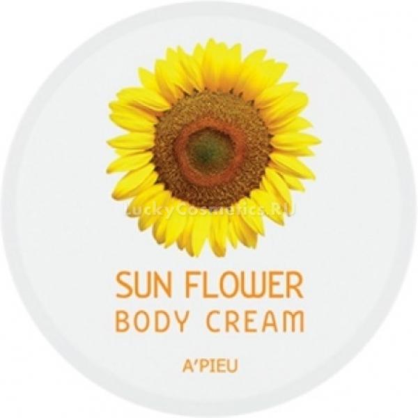 APieu Body Cream Sun FlowerВосстановить и вернуть коже прежнюю упругость и эластичность поможет крем с экстрактами подсолнечника от A&amp;#39;Pieu. Продукт мгновенно питает и восстанавливает травмированную и сухую кожу. Крем для тела Body Cream Sun Flower, моментально впитывается и не оставляет на коже липкости и жирных следов. Вы можете не переживать, что следы останутся на нарядах, благодаря уникальной формуле средства.<br><br>Натуральные растительные компоненты подсолнечника великолепно питают и ухаживают за кожей в любое время года. Увлажняют и восстанавливают сухие участки кожи. В результате кожа рук становится молодой и сияющей. Продукт предотвращает образование дряблости и шелушений. Способствует защите кожи от негативного влияния жесткой и соленой воды. Создает на поверхности защитный барьер и немного осветляет тон. Кроме того крем ухаживает и за кутикулой, предотвращая появление заусенцев. Кожа выглядит ухоженной и бархатистой. Каждое ваше прикосновение будет сопровождаться легким шлейфующим ароматом трав.<br><br>Экстракт подсолнуха помогает поддержать водно &amp;ndash; липидный баланс клеток, удерживает частицы влаги внутри дермы, предотвращая ее пересыхание. Подсолнечник богат уникальными светоотражающими компонентами, которые придают коже легкое сияние и защищают от травмирования.<br><br>&amp;nbsp;<br><br>Объём: 60 мл.<br><br>&amp;nbsp;<br><br>Способ применения:<br><br>Нанесите крем на чистую кожу тела и помассируйте. Наносите необходимое количество раз в течение дня.<br>