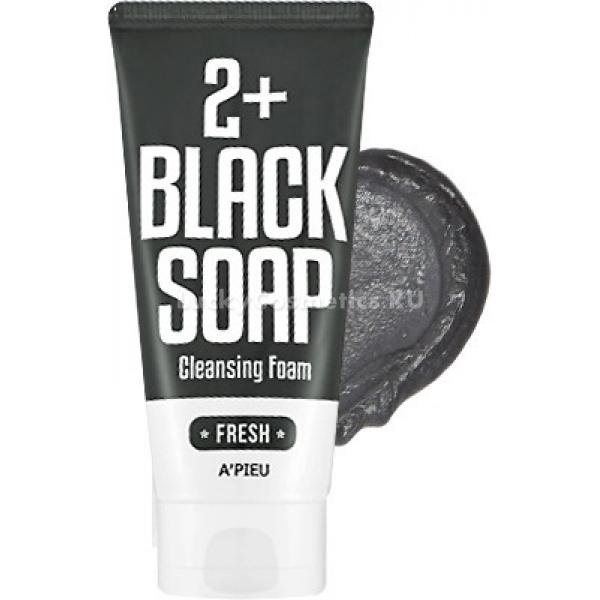 APieu Black Soap  Cleansing Foam FreshПрофессиональный уход возможен теперь не выходя из дома. Продукт от корейского бренда APieu превосходно очищает и заботится о коже лица. Средство с черным мылом Black Soap 2+ Cleansing Foam глубоко проникает в поры и выводит загрязнения из них. Благодаря натуральным компонентам пенка ухаживает и глубоко тонизирует клетки. Удаляет макияж любой сложности всего за несколько минут, при этом оставляя только чувство комфорта и мягкости. При регулярном использовании кожа становится бархатистой и невероятно гладкой. Средство стимулирует выработку клетками природной гиалуроновой кислоты и эластина, укрепляет тонкую кожу, устраняет сосудистую сеточку и мелкие морщинки. Рекомендовано для ухода за жирнеющей и чувствительной кожей лица. При постоянном применении кожа преображается, становясь на несколько тонов светлее и при этом оставаясь матовой и подтянутой. Средство бережно устраняет ороговевшие частички кожи и предотвращает появление пигментации и мелких раздражений.Объём: 130 мл.Способ применения:Нанесите немного средства на ладонь и вспеньте с водой, распределите по коже лица и массирующими движениями удалите косметику или загрязнения. Смойте остатки пенки теплой водой. Для лучшего результата и более упругой кожи рекомендуется умываться прохладной водой.<br>