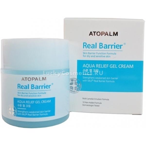 Atopalm Real Barrier Aqua Relief Gel CreamЛинейка ухаживающих средств Real Barrier содержит инновационный запатентованный комплекс MLE, который воспроизводит слоистую структуру эпидермиса и интенсивно восстанавливает травмированные клетки. Средство от Atopalm обладает легкой гелевой текстурой, которая мгновенно питает сухую кожу и активирует процессы регенерации изнутри. Благодаря своей уникальной формуле крем дает не временный эффект, а способствует восстановлению физиологического уровня pH и влажности кожи. При этом средство великолепно борется с жирностью и сухостью кожи.<br><br>В составе крема содержится низкомолекулярная гиалуроновая кислота, которая заполняет поврежденные клетки и восстанавливает их функции. Кроме того она способствует разглаживанию мелких морщин, устраняет пигментацию и мелкие высыпания.<br><br>Пантенол в составе средства деликатно заживляет кожу, дарит ей мягкость и бархатистость.<br><br>Также в состав линейки входит уникальный арома &amp;ndash; комплекс, который успокаивает и снимает стресс в конце дня, помогает клеткам в конце дня расслабиться и подарит коже легкий аромат.<br><br>&amp;nbsp;<br><br>Объём: 50 мл.<br><br>&amp;nbsp;<br><br>Способ применения:<br><br>На предварительно очищенную кожу нанесите необходимое количество крема и дайте впитаться. Рекомендуется применять утром, перед нанесением макияжа и вечером, в качестве ночного ухаживающего средства.<br>