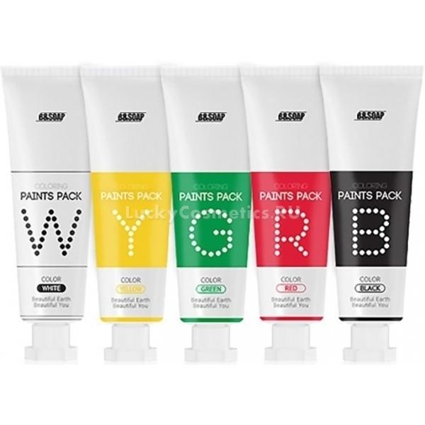 B Soap Coloring Paints PackСовсем недавно в бьюти-индустрии появилось новое понятие «мультимаскинг». Данная техника подразумевает нанесение на лицо сразу несколько продуктов – для каждой зоны используются разные по действию маски. Набор Coloring Paints Pack от корейского производителя B&amp;Soap содержит в себе 5 различных текстур масок, которые можно использовать как «соло», так и в необходимой комбинации.<br>Для уставшей кожи, лишенной жизненной энергии и здорового сияния отлично подойдет маска желтого оттенка с ценным экстрактом прополиса. Она мягко подсушит воспаления, сгладит неровности и сделает оттенок лица более ровным. Вытяжки из овса и базилика отрегулируют годробаланс, успокоят раздражения и создадут невидимый защитный барьер.<br>Выраженный лифтинг-эффект, а также обеспечит ядерное увлажнение маска белого цвета на основе гиалуроновой кислоты. Экстракт молока улучшит цвет лица, осветлит пигментацию и рубцы, а грибные дрожжи и вытяжка из бобов запустят процессы самоомолоожения, формируя невидимый защитный барьер.<br>Красная маска предназначена для чувствительной кожи, склонной к покраснениям. В ее основе лежит экстракт шиповника, обладающий мощным антиоксидантным воздействием и повышающий кожный иммунитет. Благодаря ягодам годжи, кожа приходит в тонус, становится более эластичной и подтянутой, а микроповреждения затягиваются в разы быстрее.<br>Обладательницы жирной кожи, склонной к появлению черных точек и высыпаний по достоинству оценят зеленую маску с экстрактом водорослей, содержащую коллаген,  экстракты ромашки и алоэ. Средство способно нормализовать работу сальных желез, сократить выработку кожного жира, тем самым пресекая появление забитых пор и подкожников. На участки, где требует глубоко очищение, рекомендуется наносить черную маску с углем, которая мягко отшелушивает ороговевший слой, подсушивает прыщики, выводит токсины и аллергены.Объём: 25гр.* 5 шт.Способ применения:Выберите одну или несколько средств в зависимости от результата, который хотите 