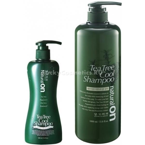 Daeng Gi Meo Ri Natural On Tea Tree Cool ShampooПалящие лучи солнца, химические окрашивания и завивки, все это пагубно влияет на волосы. Чистейшая горная вода и натуральный растительный комплекс помогают позаботиться и восстановить травмированные волосы.<br>Шампунь с экстрактом чайного дерева серии Natural On Cool от корейского бренда Daeng Gi Meo Ri  восстановит и увлажнит нежную кожу и волосы. Ультрапитательная формула на основе натуральных масляных эфиров поможет не только восстановить уже поврежденные волосы, но и предотвратить пагубное влияние факторов окружающей среды. Благодаря воздушной пенящей текстуре средство мгновенно очищает и освежает волосы, дарит им упругость и эластичность. Специальные растительные компоненты создают специальное межволосяное пространство, которое добавляет объем и способствует проникновению кислорода. Таким образом достигается не только чистота, но и подвижная фиксация. Средство способствует защите от высоких температур, пересыхания и сухости кожи головы.<br>Экстракт мяты и ментола облегчают дискомфортные ощущения и способствуют терапевтическому лечению перхоти.<br>Розмарин препятствует впитыванию неприятных запахов и оставляет на волосах сияющий блеск.Объём: 280 мл.Способ применения:На мокрые волосы нанесите немного шампуня и вспеньте в небольшом объеме воды, тщательно промойте локоны.<br>