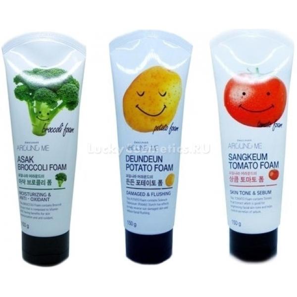 Welcos Around Me Cleansing FoamИзвестный бренд корейской косметики Welcos представляет линейку нежных пенок для умывания Around Me. Веселые тюбики с изображениями главных ингредиентов предлагают не только бережное очищение, но и другие полезные свойства.<br><br>Broccoli Foam<br>Экстракт брокколи работает на укрепление кожи, возвращает ей упругость, повышает защиту от губительного воздействия ультрафиолетовых лучей и свободных радикалов, имеет выраженный противовоспалительный эффект<br>Egg Foam<br>Волшебные свойства яичного желтка давно и успешно используются в домашних рецептах и органической косметике. Пенка с яйцом тщательно очищает и сужает поры, избавляет от сальных пробок, обеспечивает смягчение и питание кожи.<br>Tomato Foam<br>Зеленый чай и экстракт томатов комплексно ухаживают за кожей, требующей интенсивного питания. Воздушная пена насыщает кожу полезными элементами, смягчает, заботится о быстром заживлении повреждений, успокаивает воспаления.<br>Potato Foam<br>Пенка с картофельным крахмалом подарит вашей коже здоровое сияние, мягко отбелит, вернет эластичность, защитит от нежелательного воздействия солнечных лучей и других внешних угроз.Объём: 150 гр.Способ применения:Утром и вечером нанесите пенку на влажную кожу, помассируйте, смойте водой. Наслаждайтесь чистой кожей и ощущением свежести!<br>