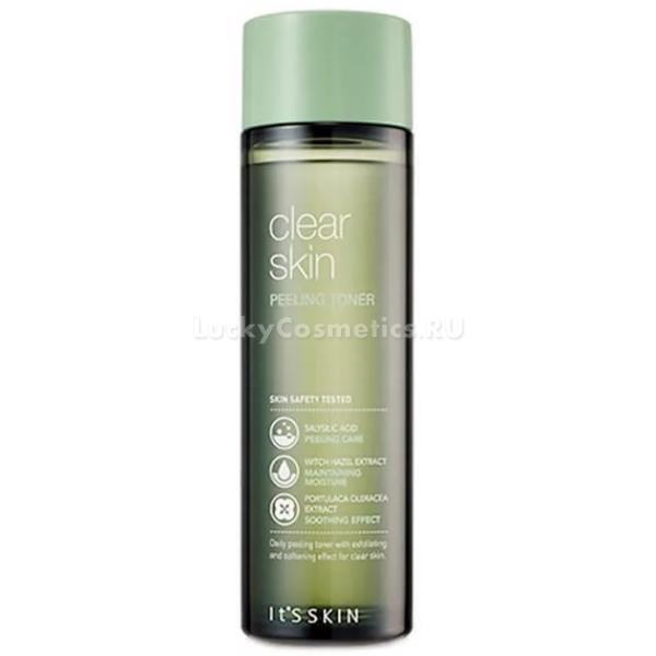 Its Skin Clear Skin Peeling TonerИнновационная линейка ухаживающих средств для ухода за проблемной кожей Clear Skin прекрасно заботится и восстанавливает гладкость кожи. Средство от корейского бренда Its Skin совместило в одном флаконе деликатный отшелушивающий пилинг и тонер. Средство работает в двух направлениях: прекрасно очищает кожу и мягко успокаивает ее. Благодаря ультрапитательной структуре продукт деликатно удаляет ороговевшие клеточки и способствует смягчению кожи. Легкая текстура не оставляет на поверхности кожи жирного блеска или липкости. Кроме того, активные компоненты средства проникают в глубокие слои дермы и активируют процессы обновления клеток.<br>Экстракт портулака огородного является сильным антибактериальным, ранозаживляющим и успокаивающим компонентом. Помогает бороться с различными высыпаниями, черными точками и шелушением кожи.<br>Салициловая кислота мягко воздействует на ороговевшие частички эпидермиса и растворяет их, удаляет сальные пробки, предотвращает размножение бактерий и способствует быстрому восстановлению клеток.<br>Экстракт гаммамелиса смягчает сухие участки кожи, усиливает тургор и эластичность, укрепляет стенки сосудов и дарит коже гладкость и бархатистость.Объём: 140 мл.Способ применения:Смочите тонером спонж и мягко обработайте кожу лица после процедуры умывания.<br>