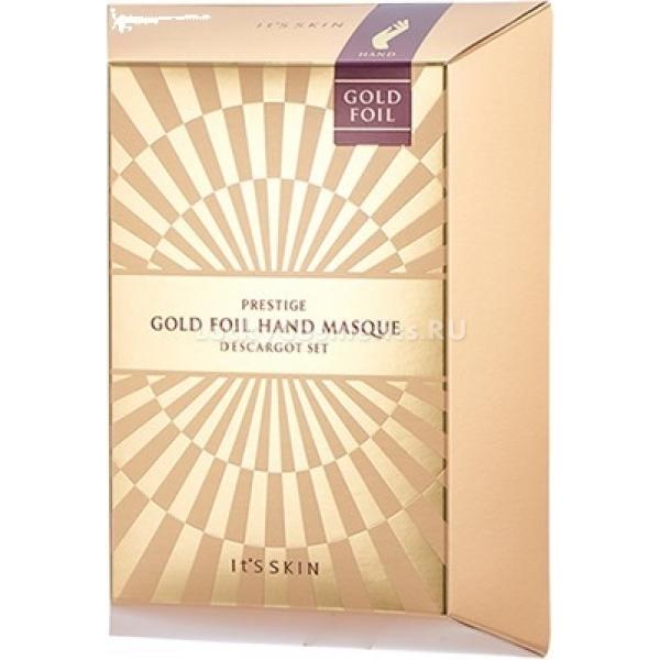 Its Skin Prestige Gold Foil Hand Masque DescargotЗолотая маска для рук Hand Masque Descargot от Its Skin станет настоящей находкой для сухих, тусклых и шелушащихся ручек. Натуральные растительные компоненты в сочетании с ультра тонкой золотой фольгой Prestige Gold Foil комплексно воздействуют на кожу и восстанавливают ее на клеточном уровне. Питательная формула средства интенсивно ухаживает за кожей, восполняет недостаток витаминов и микроэлементов, предотвращает обезвоживание и ранее старение кожи. Средство помогает вернуть коже жизненные силы и энергию, усиливает клеточное питание, укрепляет стенки сосудов и ухаживает за тонкими ногтями.<br>Экстракт улиточного муцина 10000 мг глубоко проникает в травмированные клетки, заполняет и разглаживает морщины, деликатно размягчает и удаляет роговой слой эпителия, дарит коже нежность и гладкость. Кроме того, муцин обладает мощным ранозаживляющим, омолаживающим и антибактериальным действием. Укрепляет местный иммунитет и восстанавливает оптимальный водно – липидный баланс.<br>Золотая фольга великолепно питает и увлажняет, снимает раздражение и воспаление. Дарит коже эластичность и сияние.Объём: 6 мл.*2 шт. (5 шт. в уп)Способ применения:На чистую сухую кожу рук наденьте маску и оставьте на 10 – 15 минут. После чего аккуратно удалите, а остатки питательной эссенции распределите по коже.<br>