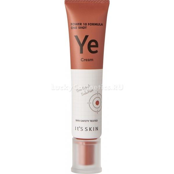Its Skin Power  Formula One Shot Ye CreamУникальная коллекция питательных средств Power 10 Formula от корейского бренда It&amp;#39;s Skin вернет тусклой и уставшей коже естественную красоту и здоровый вид. Энергетическая формула One Shot YE Cream глубоко проникает в кожу, активирует процессы синтеза коллагена, усиливает стенки сосудов и дарит коже свежий вид. Средство с невероятно легкой текстурой отлично питает и поддерживает оптимальный уровень влажности кожи, предотвращает появление сухости и шелушений. Стимулирует заживление тканей, насыщает клетки активными молекулами влаги и кислорода.<br><br>Дрожжевые пептиды в составе средства усиливают процессы регенерации клеток, ускоряют их метаболизм, устраняют темные круги в области глаз и дарят коже отдохнувший вид.<br><br>Экстракт лотоса защищает нежную кожу от пагубного воздействия UVA и UVB излучений, перепадов температур и стрессов. Стимулирует заживление тканей, увлажняет и глубоко питает.<br><br>Экстракт можжевелового дерева сужает расширенные поры, борется с излишней выработкой кожного сала, обеспечивая коже матовость с утра и до позднего вечера.<br><br>&amp;nbsp;<br><br>Объём: 35 мл.<br><br>&amp;nbsp;<br><br>Способ применения:<br><br>На предварительно очищенную кожу нанесите средство и распределите легкими похлопывающими движениями подушечек пальцев.<br>