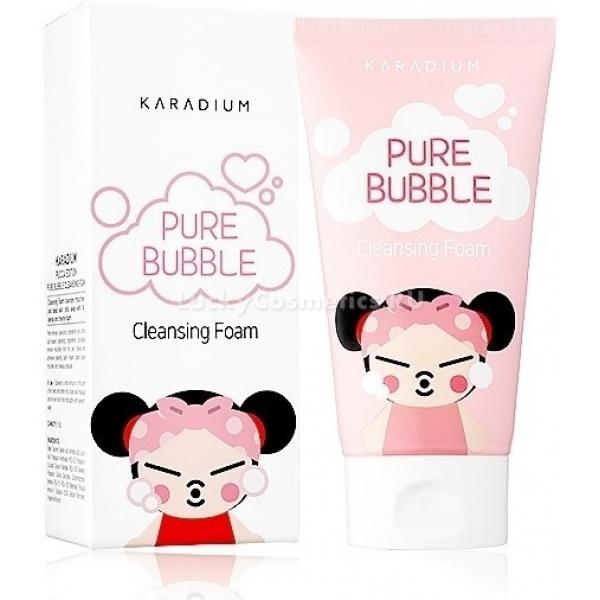Karadium Pure Bubble Cleansing Foam Pucca EditionПредставляем густую, воздушную пенку для умывания из серии Pucca Edition. Вся линейка косметических средств Pucca изображает на упаковке знаменитую, очаровательную девочку из одноименного аниме, популярного во всем мире.<br><br>Pure Bubble Cleansing Foam каждый день на страже чистоты и свежести вашей кожи! Нежные пузырьки бережно и быстро очищают от остатков тональной основы и другого макияжа, загрязнений и излишков кожного сала. Регулярное умывание с пенкой от Karadium нормализует секрецию себума, что облегчает заботу о жирной и комбинированной коже.<br><br>Среди других полезных свойств продукта числится увлажнение, укрепление эпидермального слоя, повышение упругости и эластичности, мягкое отбеливание. Попробуйте начинать каждое утро с умывания ласковой пенкой, и вы отметите, как лицо преображается. Резуьтат: кожа становится более мягкой и бархатистой, ухоженной, свежей и полной энергии.<br><br>Цвет лица улучшается, раз за разом становится более однородным, уходят пигментные пятнышки и покраснения. Клетки дермы дышат, поры свободны от скопления сала и менее заметны, кожа чистая и готовая к дальнейшему уходу.<br><br>&amp;nbsp;<br><br>Объём: 150 мл.<br><br>&amp;nbsp;<br><br>Способ применения:<br><br>Оптимальное количество продукта вспенить с водой, мягко помассировать, смыть остатки теплой водой.<br>