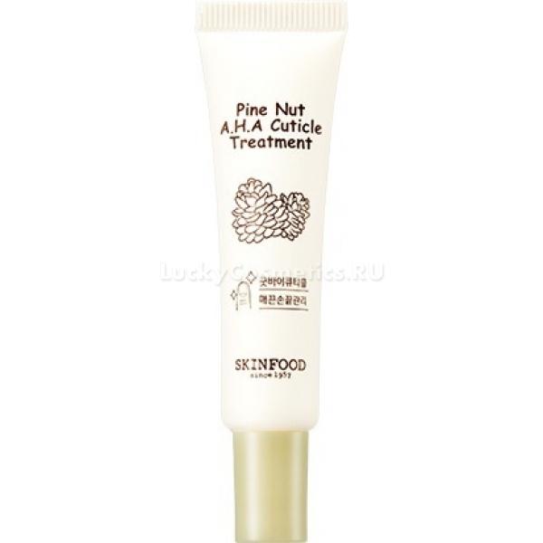 Skinfood Pine Nut AHA Cuticle TreatmentКожа рук часто подвергается негативному воздействию жесткой воды, холодного воздуха и возрастным изменениям. В результате, казалось бы, идеальный маникюр может омрачить такая мелочь, как неухоженная сухая кутикула. Помочь вернуть коже мягкость и аккуратность может легкий питательный крем для ухода за кутикулой Pine Nut AHA Cuticle Treatment от Skinfood. Благодаря легкой текстуре средство моментально впитывается и не оставляет следов липкости и жирности. Специальная растительная формула продукта стимулирует заживление тканей, укрепляет тонкую кожу и предотвращает быстрое разрастание отмершей части кутикулы. Крем обладает легким ароматом, который не раздражает и не забивает запах других ухаживающих средств.Объём: 10 мл.Способ применения:Нанесите необходимое количество средства на кутикулу и слегка помассируйте кожу.<br>