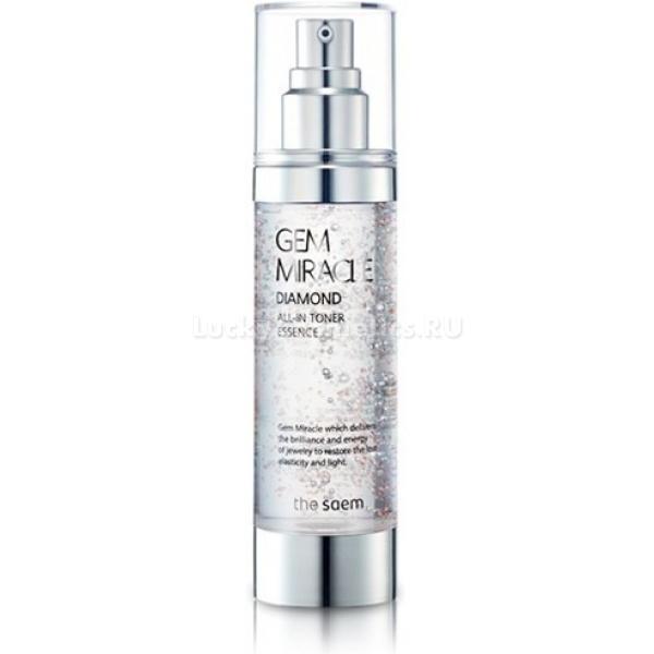 The Saem Gem Miracle Diamond All in toner EssenceЭссенция от корейской компании The Saem не только борется с естественными изменениями состояния кожи, но и благодаря входящей в состав алмазной пудре улучшает овал лица, то есть, обладает еще и лифтинг-эффектом. Она помогает сохранять водный баланс кожи. Этому в значительной мере способствуют  природные компоненты в составе, среди которых – аргановое масло и сквален. В результате, кожа становится сияющей, увлажненной и упругой. Экстракты трав, входящие в состав Gem Miracle Diamond All in toner Essence, выводят из кожи шлаки и токсины, повышают регенерацию. Аргановое масло  борется со свободными радикалами, а ведь это - одна из важнейших и первостепенных причин старения кожи. Сыворотка придает коже мягкость и сияние, делает ее и сказочно гладкой, борется с гиперпигментацией, а значит, и с  возрастными  пигментными пятнами.<br>Основные действующие компоненты эссенции<br>Аргановое масло. Оно – настоящая кладязь здоровья, так как содержит важнейшие для здоровья витамины Е и F. Это все – полезные для кожи ненасыщенные жирные кислоты. Увлажняет, устраняет шелушение лица и ощущение стянутости кожи, повышает естественный тонус и возвращает былую упругость. Обладает ярко выраженными регенерирующими и омолаживающими свойствами. Поэтому оно незаменимо для ухода за стареющей кожей лица.<br>Сквален. Это – природное вещество, которое отвечает за увлажнение и питание кожи. Именно недостаток сквалена - одна из  первостепенных и самых основных причин увядания кожи. Например, в молодой коже его количество  примерно 40%. С возрастом оно постепенно падает. Сквален не только увлажняет кожу, но и позволяет ей свободно дышать под косметическим средством, а значит, не забивает поры.Объём: 75 млСпособ применения:Очистите кожу лица и нанесите эссенцию легкими движениями, можно даже хлопочками. Дайте ей впитаться, а излишки, при необходимости, промокните салфеткой.<br>