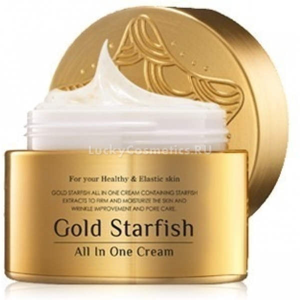 Крем с морской звездой и золотом Mizon Gold starfish all in one cream 50 mlGold Starfish All In One Cream &amp;mdash; результат улучшения знакомого любителям Mizon крема с экстрактом морской звезды, созданный специально для &amp;laquo;Золотой регенерирующей линии&amp;raquo; и сети Lotte Mall. Благодаря добавлению золота эффективность внедрения активных компонентов в кожу повышается, и стандартная баночка крема становится гораздо более полезной.<br><br>Мультифункциональный крем<br><br>Основу активного состава золотого крема составляет триада компонентов:<br><br>1. Регенерирующий (33 %), экстракт из морской звезды, гидролизованный &amp;mdash; стимулирует обновление клеток, помогает восстановить структуру клеточного матрикса, возвращает коже упругость и эластичность.<br><br>2. Успокаивающий и тонизирующий (12 %), экстракт из листьев японского вяза &amp;mdash; приводит в тонус сосуды и поры, убирает покраснения и выступает в качестве антиоксиданта.<br><br>3. Активизирующий обмен и транспортирующий (0,012 %), золото &amp;mdash; работает как антивозрастной ингредиент, способный улучшить тон лица, и способствует выведению токсинов.<br><br>Ниацинамид ослабляет синтез меланина, что блокирует появление пигментных пятен, а пептидный комплекс во главе с белком Syn-ake расслабляет мышцы лица и способствует выравниванию рельефа кожи, избавляет от мимических морщин.<br><br>&amp;nbsp;<br><br>Объём: 50 мл<br><br>&amp;nbsp;<br><br>Способ применения:<br><br>Золотой крем с экстрактом морской звезды используется сразу после пробуждения утром и перед сном вечером, избегая смешивания с другими косметическими средствами. Эффект &amp;laquo;памяти формы&amp;raquo; позволяет наносить его быстрыми движениями, пока не растворятся золотые частички, а затем он самостоятельно равномерно заполнит поверхность кожи. После высыхания следов практически не остаётся, и можно сверху при необходимости накладывать макияж.<br>