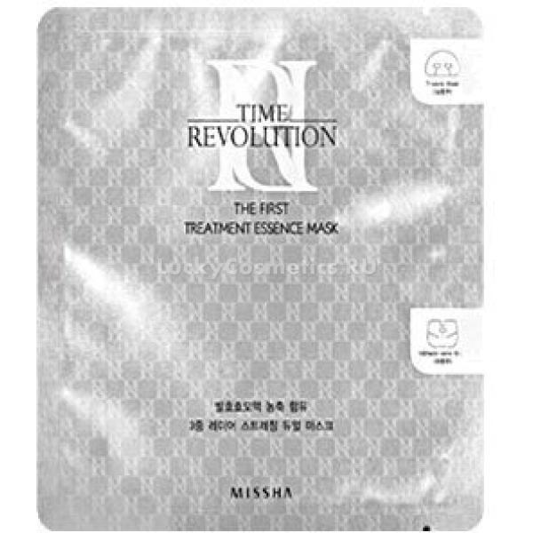 Missha Time Revolution The Fist Treatment  Essence MaskВ данной маске используется разработанная компанией Missha специальная эффективная формула для возрастной кожи, которая борется с морщинами, потерей кожей упругости и эластичности. Свойственные зрелой коже покраснения, шелушения и пигментация больше не доставят неудобств. Маска разработана с учетом особенностей возрастной кожи 40-55 лет.<br><br>The Fist Treatment Essence Mask содержит в составе комплекс витамина B, который увлажняет и успокаивает дерму, обладает восстановительными свойствами и способствует поддержанию выработке коллагена.<br><br>Экстракт дрожжей в составе маски обладает заживляющими, регенерирующими и противовоспалительными свойствами, повышает сопротивляемость к негативным внешним факторам. Способствует улучшению кровообращения в капиллярах. Благодаря наличию витамина PP снижает застойные явления в сосудах. Экстракт дрожжей способствует естественному процессу клеточного дыхания и помогает насытить ткани кислородом.<br><br>Растительные экстракты успокаивают и насыщают витаминами, благодаря чему уходит сухость кожи. Обладают солнцезащитными свойствами, предотвращают старение и увядание. Эффективно регулируют водно-солевой баланс.<br><br>Маска состоит из 2 частей: для Т-зоны и области подбородка и шеи.<br><br>&amp;nbsp;<br><br>Объём: Т-зона -15 мл, область подбородка и шеи - 18 мл<br><br>&amp;nbsp;<br><br>Способ применения:<br><br>На очищенную кожу бережно нанести маску. Аккуратно снять через 20 минут, распределяя остатки жидкости по коже по массажным линиям.<br>
