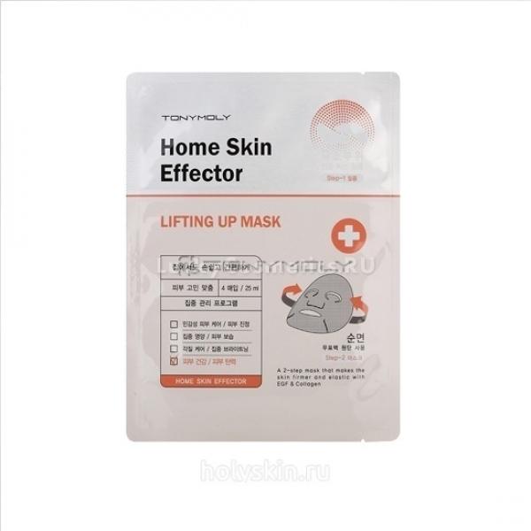 Tony Moly Home Skin Effetor Lifting Up MaskПеред вами – уникальная маска для лица и глаз, обновляющая кожу на клеточном уровне, делающая  вашу кожу мягкой, эластичной и упругой. Весь секрет – в уникальном составе, который основан на  целебных эфирных маслах, известных своими антиоксидантными свойствами. Так, масло виноградных косточек разглаживает морщины, улучшает кровоток и способствует выработке кожного коллагена, который как раз и отвечает за упругость и тургор вожжи. Аденозин улучшает кровообращение и насыщает кожу кислородом. После применения маски кожа становится гладкой, упругой и эластичной, она визуально начинает светиться изнутри за счет улучшенного питания и насыщенности верхнего слоя эпидермиса кислородом. В наборе – маска для лица и 4 саше для глаз.Объём: 25 млСпособ применения:Оставить средство на лице  на 10 минут, а затем снять. Если маска впиталась не полностью, остатки вбить кончиками пальцев в кожу до полного впитывания.<br>