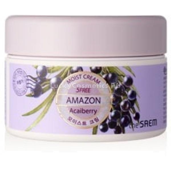 The Saem Amazon Acai Berry Moist CreamУвлажняющий крем с ягодами Амазонии отлично питает и насыщает кожу влагой, придает упругость и эластичность, делая ее свежей и сияющей. Amazon Acai Berry Moist Cream изготовлен на экстракте знаменитых асаи - «ягоды молодости» и действительно способен моментально омолодить лицо и сделать его безупречным.<br>Регулярное использование крема позволяет добиться невероятно потрясающего результата. Кожный покров приобретает потрясающую гладкость и шелковистость, подтягивается. Уникальные компоненты крема мгновенно наполняют клетки кожи влагой, позволяя ей дышать. Крем с ягодами асаи способен очищать загрязненные поры, восстанавливать водный баланс кожи, улучшая цвет вашего лица.<br>Экстракт ягод не позволяет коже стареть, обеспечивая регулярную регенерацию клеток. Деликатный продукт гипоаллергенен и подходит для чувствительной кожи, в считанные минуты делая ее ухоженной и здоровой.<br>Благодаря большому количеству жирных кислот, содержащихся в ягодах асаи, крем способен восстанавливать, пролонгировано питать и освежать кожу. Увлажняющий крем также оказывает успокаивающее действие, устраняет усталость кожи, возвращает ей эластичность и прежнюю молодость.Объём: 48 млСпособ применения:Крем является заключительным этапом ухода за кожей. Наносится пальпируемыми движениями.<br>