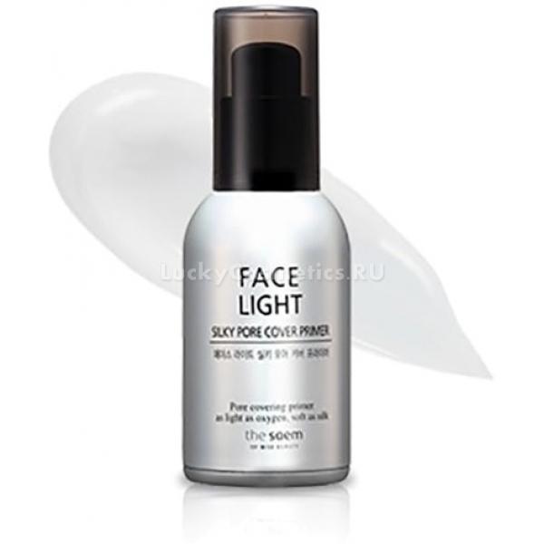 The Saem Face Light Silky Pore Cover PrimerПраймер с «эффектом фотошопа» для кожи с расширенными порами надежно замаскирует все неровности и косметические недостатки вашей кожи и подарит уверенность в собственной неотразимости на целый день. Средство разглаживает кожу, выравнивает ее микрорельеф и подготавливает к нанесению тональных основ. Нанесенные поверх праймера, ББ-крема не проваливаются в поры и морщинки, дольше держатся и сохраняют свои маскирующие свойства.<br><br>Кора белой ивы в составе праймера уничтожает патогенные микроорганизмы, обитающие на поверхности кожи, не давая им найти брешь в иммунной защите и спровоцировать воспаления. Черные бобы смягчают кожу и делают ее идеально нежной на ощупьь, убирают сухость и шелушения. Праймер обогащен кислородом, который проникает в клетки и ускоряет все метаболические реакции, усиливает кровообращение в тканях и способствует выработке естественного эластина и коллагена.Объём: 30 млСпособ применения:Очистить кожу с помощью пенки для умывания, специальной сеточки или губки конняку. Тонизировать лицо мистом. Нанести праймер на кожу массирующими движениями непосредственно перед использованием декоративной косметики.<br>