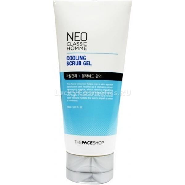 The Face Shop Neo Classic Homme Cooling Scrub GelКосметологи из The Face Shop разработали гелевый скраб для мужчин, помогающий придать коже лица ухоженный вид. Это средство эффективно устраняет ороговевший слой клеток, избавляет кожу от загрязнений и снижает жирность.<br><br>Кожа лица после регулярного использования продукта становится чистой, супермягкой и невероятно гладкой на ощупь. Комплекс полезных ингредиентов, входящий в состав скраба, помогает восстановить правильную работу экзокринных желез. Кожа приобретает желанную матовость, исчезают комедоны, следы, оставшиеся после лечения акне, светлеют. Отшелушивающий гель обладает мягким тонизирующим эффектом, оставляет после себя оригинальный цитрусовый аромат.<br><br>Главным компонентом средства является чистая вода с обильным количеством минералов. Этот ингредиент позволяет увлажнить и разгладить кожу. Ментоловое масло в составе продукта – сильный природный антисептик. Оно ускоряет процесс заживления царапин, нормализует кожное дыхание, способствует сужению пор.Объём: 150 млСпособ применения:Выдавить гель-скраб и нанести на влажную кожу лица. Втирающими и движениями распределить по коже, бережно и мягко очищая кожу. Смыть средство водой.<br>