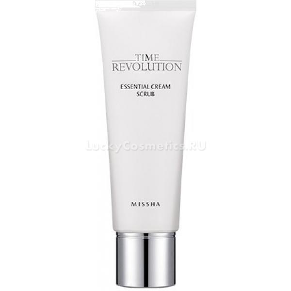 Missha Time Revolution Essential Cream ScrubКорейская компания Missha предлагает замедлить ход времени и поддержать красоту вашей кожи. Time Revolution Essential Cream Scrub – одно из средств антивозрастной линейки, способной противостоять неумолимому времени.<br>Мощное омолаживающее действие обусловлено правильно подобранным сочетанием природных ингредиентов. Все они воздействуют на кожу направленно и дополняют эффекты друг друга.<br>Так, крахмал кукурузный – абсорбент, забирающий лишние влагу и кожное сало. Кроме того, крахмал смягчает, дарит ощущение гладкости и бархатистости. Также он выступает защитным компонентом состава.<br>Рисовый экстракт запускает процессы регенерации. С ним кожа обновляется, становится гладкой и упругой. Рис также осветляет и борется с пигментацией.<br>Вытяжка из овса – еще один омолаживающий ингредиент. Она сглаживает морщинки и делает кожу подтянутой.<br>Жемчужная пудра в этом косметическом продукте выступает в роли антиоксиданта. Она защищает от негативных воздействий извне, бережет от ультрафиолета. Кроме того, мельчайшие перламутровые частички дарят коже сияние молодости.<br>Крем скраб имеет очень легкую текстуру, он не травмирует кожу и обходится с ней бережно, аккуратно.Объём: 110 млСпособ применения:На влажную кожу нанесите крем-скраб. Помассируйте и смойте.<br>