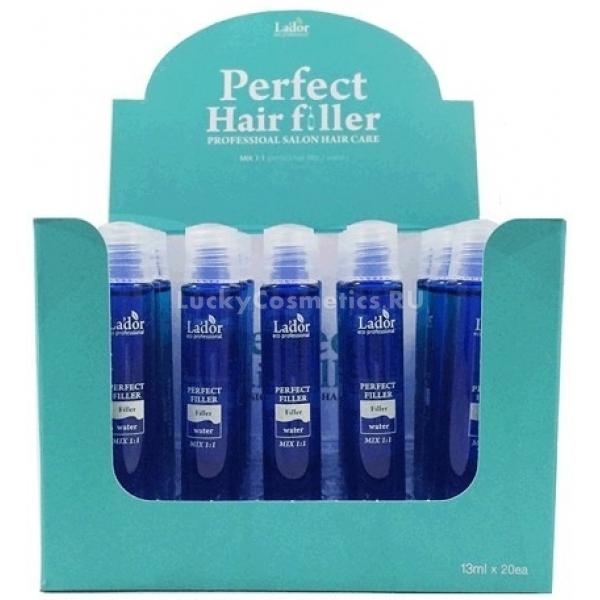 Lador Perfect Hair FillerОснованный на протеине, коллагене, керамидах и аминокислотах шелка, этот филлер для восстановления волос просто создан преображать сухие и тусклые локоны. Всего одна процедура перевернет ваше представление об уходе за волосами, ведь вы моментально получите и ощутимую мягкость, и глубокое питание, и видимый блеск. Такой филлер просто необходим любительницам частых экспериментов над волосами: а как еще быстро привести волосы в порядок после очередной покраски, завивки или обесцвечивания? Также это готовое решение для тех, кто иссушил волосы феном и утюжком, а также для тех, кто боится пересушить волосы на море. Средство также можно использовать непосредственно перед окрашиванием или завивкой, чтобы минимизировать негативное воздействие агрессивных веществ.<br><br>&amp;nbsp;<br><br>Объём: 13млХ10/20<br><br>&amp;nbsp;<br><br>Способ применения:<br><br>Смешайте содержимое ампулы с холодной водой в пропорции 50/50 и хорошо перемешайте, пока средство не приобретет креомообразную консистенцию. Нанесите смесь на волосы и выдержите под шапочкой в течение 10-20 минут. Смывать средство нужно без шампуня, а для усиления и ускорения действия рекомендуется обеспечить волосам тепло при помощи фена или специальной термошапочки. Производитель рекомендует применять средство 2 раза в неделю или по необходимости.<br>