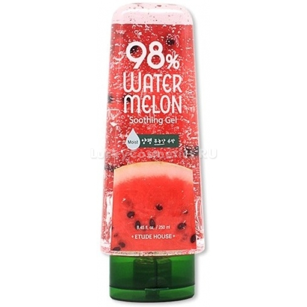Etude House   Watermelon Soothing GelEtude House 98 % Watermelon Soothing Gel &amp;ndash; это успокаивающий, увлажняющий, питающий и восстанавливающий гель для кожи лица и тела. Благодаря уникальной формуле, на основе которой создан продукт, он способен выполнять сразу несколько функций и подходит для любого типа кожи. Использовать гель можно для снятия макияжа, умывания, в качестве маски для лица, тела и волос или просто ухода на ночь.<br><br>Гель имеет легкую текстуру, которая хорошо распределяется на коже и проникает в ее глубокие слои, избавляя от сухости и даря ощущение свежести и бодрости.<br><br>Основной компонент Watermelon Soothing Gel &amp;ndash; экстракт арбуза, который увлажняет и тонизирует кожу, способствует сокращению воспалений и шелушений, избавляет от пигментных пятен, выравнивая тон. Гель позиционирует себя как успокаивающий, поэтому его можно использовать для ухода за местами мелких ожогов, ранок и укусов.<br><br>&amp;nbsp;<br><br>Объём: 250 мл<br><br>&amp;nbsp;<br><br>Способ применения:<br><br>Тщательно очистить лицо и нанести гель равномерно, распределить массажными движениями до впитывания. Для снятия макияжа нанести достаточное количество средства на вату или ватный диск и протереть лицо. Для использования в качестве маски &amp;ndash; нанести на кожу или волосы и оставить на 15-20 минут, а затем смыть теплой водой.<br>