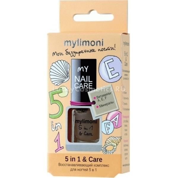 MyLimoni  in   CareДанное средство из линии продуктов MyLimoni придает защиту и укрепляет ногти, нуждающиеся в восстановлении. При этом оно еще и способствует регенерации ногтевой пластины, что делает ноготь крепче и здоровее, а также способствует его утолщению и прочности.<br>Комплекс «5 in 1 &amp; Care» содержит в себе эластин, который придает эластичность, за счет того, что надежно удерживает влагу внутри ногтя. Витаминно-минеральный комплекс интенсивно насыщает ткани полезными веществами, укрепляют и приводят в норму баланс питательных веществ.<br>При регулярном применении ногти восстанавливаются изнутри, становятся крепкими, эластичными, здоровыми и защищенными, продукт помогает навсегда забыть о ломкости и расслаивании ногтей.Объём: 6 мл.Способ применения:Наносить средство при помощи специальной кисточки на поверхность ногтя можно или перед нанесением лака, или самостоятельно несколько раз в неделю для получения восстанавливающего эффекта.<br>