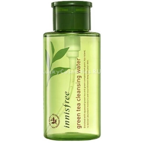 Innisfree Green Tea Cleansing WaterЗелёный чай обладает целым комплексом полезных свойств для кожи. Именно поэтому его используют при создании многих косметических уходовых средств. Бренд Innisfree создал целую линейку на основе данного компонента. Один из продуктов линии - очищающая вода Green Tea Water.<br><br>Продукт направлен на очищение кожи от загрязнений, косметики и жирного блеска. Он отлично справляется как с обычными косметическими средствами, так и с теми, что имеют водостойкий эффект. Также Cleansing Water удаляет тональные основы, с которыми не справляются даже специальные средства для снятия макияжа.<br><br>Экстракт зеленого чая в составе очищающий воды помогает сохранить молодость и оптимальный гидролипидный баланс кожи. Чтобы этого достичь, он проникает глубоко в кожу и воздействует на неё изнутри. Благодаря экстракту зелёного чая лицо становится свежим, сияющим, мягким и упругим, а процессы старения заметно замедляются. Кроме того, в состав продуктов входят экстракты бергамота, камелии, орхидей и других растений, которые увлажняют, тонизируют и питают кожу.<br><br>Очищающая вода представлена в зеленой бутылочке, текстура ее полностью водная, поэтому она очень легко наносится на кожу.<br><br>&amp;nbsp;<br><br>Объём: 300 мл.<br><br>&amp;nbsp;<br><br>Способ применения:<br><br>Использовать для снятия макияжа и очищения лица по мере необходимости.<br>