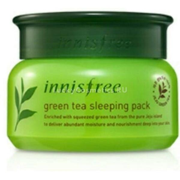 Innisfree Green Tea Sleeping PackЛинейка уходовых средств на основе зелёного чая от косметической марки Innisfree представлена самыми разнообразными продуктами. Один из них - интенсивная ночная маска Green Tea Pack в стандартной для данной линейки упаковке. Она представляет собой многофункциональное средство для кожи лица. В состав маски входят экстракт зелёного чая и натуральные масла. Первый и главный компонент оказывает на кожу увлажняющее и питающее действие. Кроме того, он быстро избавляет от воспалений и покраснений, очищает кожу изнутри, насыщает ее активными компонентами, усиливает процесс регенерации и защищает лицо от воздействия погоды.<br>В комплексе же экстракт зеленого чая и натуральные масла способны:<br>- максимально увлажнять сухую кожу;<br>- матировать жирную кожу;<br>- защищать чувствительную кожу;<br>- замедлять процессы старения.<br>Действие Sleeping Pack заметно уже после одного-двух применений, а регулярное использование полностью преобразит лицо. Эффект - чистая, сияющая, молодая кожа без шелушений, покраснений, высыпаний, расширенных пор и неровностей.Объём: 80 мл.Способ применения:Очистить лицо и нанесите маску массажными движениями, оставить на ночь.<br>
