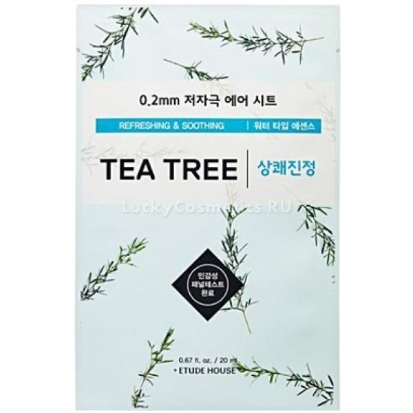 Etude House  Therapy Air Mask Tea TreeЭта тончайшая (0,2 мм) маска на тканевой основе от корейского косметического бренда Etude House идеально прилегает к лицу, обеспечивая эффективное проникновение активных веществ эссенции в глубокие слои эпидермиса.<br><br>Маска на основе вытяжки чайного дерева - 0.2 Therapy Air Mask Tea Tree &amp;ndash; прекрасно освежит и наполнит кожу необходимой влагой. Она интенсивно борется с загрязнениями на поверхности кожи, очищая закупоренные поры и растворяя сальные пробки. Маска обладает противовоспалительным, противомикробным, заживляющим и успокаивающим действием. Она особенно рекомендована обладательницам жирной и склонной к возникновению прыщей и раздражений кожи. С ее помощью можно в кратчайшие сроки избавиться от различных кожных проблем, снять раздражения, воспаления и устранить акне.<br><br>&amp;nbsp;<br><br>Объём: 26 гр.<br><br>&amp;nbsp;<br><br>Способ применения:<br><br>Наносить на лицо после процессов очищения и тонизирования, разгладив равномерно ткань по коже. Оставить на 20 минут, после чего снять и впитать остатки эссенции в кожу.<br>