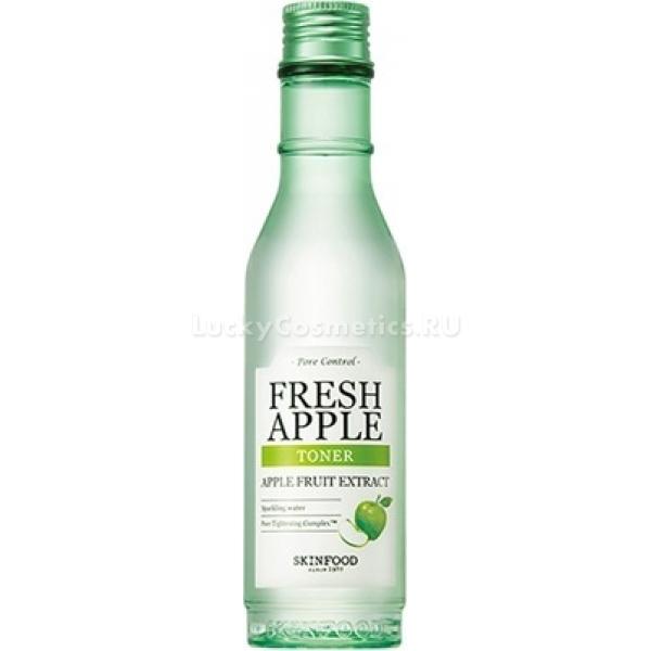 Тонер с экстрактом яблока Skinfood Fresh Apple TonerУникальная линейка продуктов по уходу за кожей от Skinfood помогает поддерживать и ухаживать за сухой и чувствительной кожей лица. Тонер Fresh Apple Toner содержит вытяжку свежего зеленого яблока и превосходно питает и оздоравливает кожу.<br><br>Благодаря большому содержанию питательных веществ, клетки восстанавливаются в несколько раз быстрее. Кожа мгновенно преображается и оздоравливается. Выравнивается тон и рельефность. Ваше лицо в течение дня свежее и тонизированное. Кроме того средство не стягивает и не сушит. Помогает контролировать выработку кожного сала, в результате кожа матовая и глубоко очищенная.<br><br>Основу средства составляет минеральная вода, которая насыщает клетки активными частицами кислорода и дарит невероятную свежесть и сияющий вид. Минералы содержащиеся в воде помогают контролировать гидролипидный баланс клеток и поддерживать кожу увлажненной в течение дня.<br><br>Экстракт зеленого яблока чрезвычайно богат железом, витаминами А, В, РР, действие которых направлено на регенерацию клеток. Пектин стимулирует клетки к выработке природного эластина и коллагена. При регулярном использовании кожа становится на тон светлее, разглаживаются морщинки и исчезает жирный блеск.<br><br>&amp;nbsp;<br><br>Объём: 180 мл.<br><br>&amp;nbsp;<br><br>Способ применения:<br><br>Смочить ватный диск и протереть кожу лица.<br>