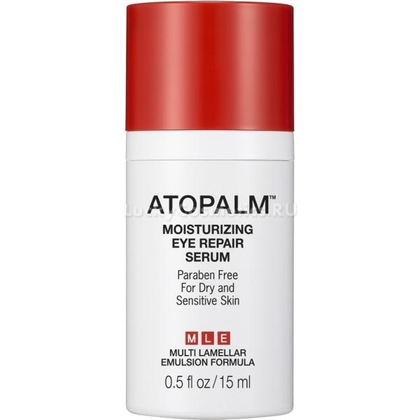 Atopalm Moisturizing Eye Repair SerumИнтенсивно увлажняющая сыворотка с лифтинг-эффектом Atopalm способствует длительному увлажнению кожи, приданию ей упругости и эластичности, а также ее надежной защите от окислителей, разрушающих клетки извне.<br>Сыворотка содержит пептиды, которые обладают множеством омолаживающих и восстанавливающих свойств. Она богата также содержанием антиоксидантов в своем составе, продлевающих молодость кожи.<br>При регулярном использовании продукта кожа приобретает здоровый и красивый оттенок, морщинки разглаживаются, контуры лица подтягиваются, а кожа выглядит ухоженной и отдохнувшей.<br>Продукт прекрасно подойдет для чувствительной и склонной к возникновению раздражений кожи. Он успокоит раздражения, снимет воспалительные процессы и прекрасно увлажнит сухую и обезвоженную кожу.Объём: 15 мл.Способ применения:Наносить на сухую и чистую кожу вокруг глаз мягкими постукивающими движениями.<br>