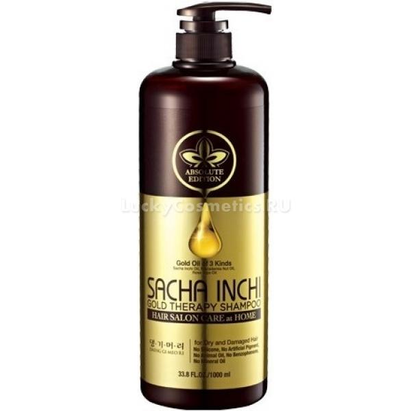 Daeng Gi Meo Ri Sacha Inchi Gold Therapy ShampooЧистейшая природная вода и натуральные растительные экстракты помогут восстановить ломкие и поврежденные волосы. Шампунь деликатно, но в то же время тщательно очистит кожу головы от ежедневно забивающейся уличной пыли, выбросов оксидов азота и избытков кожного жира. Подарит локонам свежий вид и легкость.<br>Средство Daeng Gi Meo Ri разработано на основе масел Sacha Inchi и других восстанавливающих компонентов, комплексное действие которых направлено на терапевтический эффект и лечение корневой системы волос. Воздушная пенящая текстура обеспечивает мгновенное очищение и тонизирование. Экстракт ментола в составе средства снимает раздражение и зуд, предотвращая образование сухой перхоти. Комплекс растительных масел из пиона, зеленого чая, женьшеня и шелковицы подарят невероятный объем и воздушность укладке, без утяжеления. Растительные экстракты проникают глубоко в строение клеток и интенсивно питают кожу головы, «запаивают» отслоившиеся чешуйки волос, обеспечивают легкое расчесывание и ровность. Прическа останется свежей долгое время.Объём: 1000 мл.Способ применения:На мокрые волосы нанесите продукт и тщательно распеньте с небольшим количеством воды, смойте теплой водой остатки пены. Для лучшего результата, специалисты советуют применять ухаживающую маску или кондиционер.<br>
