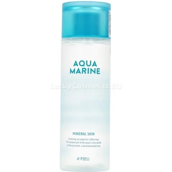APieu Aqua Marine Mineral SkinНежная и легкая линейка ухаживающих средств Aqua Marine от корейского бренда APieu вернет коже гладкость и сияние. Невероятно легкая текстура средства мгновенно питает и увлажняет сухую кожу после снятия макияжа. Средство дарит чувство комфорта, не сушит и не стягивает. Глубоко проникая в слои кожи средство активирует выработку коллагена, усиливает клеточное дыхание и дарит эластичность. Кроме того, активные компоненты средства защищают кожу от негативного воздействия ультрафиолета, стрессов и факторов окружающей среды. Прекрасно устраняет шелушения и покраснения, блокирует размножение бактерий в порах и глубоко очищает.<br>Экстракт морских водорослей обладает мощным антивозрастным, антибактериальным и тонизирующим действием. Восстанавливает природный уровень влажности кожи, усиливает циркуляцию крови и укрепляет стенки сосудов.<br>Морская вода в составе продукта заполняет и разглаживает морщины, устраняет сухость и дряблость кожи, усиливает защитные функции кожи и стимулирует выработку собственного коллагена.Объём: 180 мл.Способ применения:Смочите ватный диск или спонж необходимым количеством средства и слегка протрите очищенную от косметики кожу.<br>