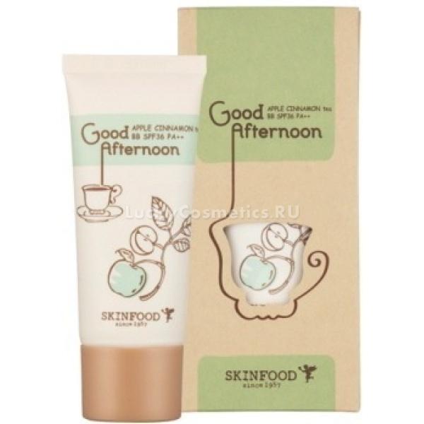 Skinfood Good Afternoon Apple Cinnamon Tea BBGood Afrernoon Apple Cinnamon Tea BB, это крем с эффектом маскировки и ухода за кожей лица, придает ей гладкий и ухоженный вид. В основе крема присутствуют полезные экстракты корицы и яблока, оказывающие благотворное действие на структуру кожи, они помогают снять усталость, сухость, возвращают жизненный цвет потускневшей коже. Крем прекрасно матирует и маскирует различные недостатки: покраснения, сосудистые звездочки, постакне и пигментные пятна, он обладает хорошей стойкостью, оставляет на коже легкое подсвечивание, обеспечивая ей отдохнувший вид.<br><br>Действующие экстракты крема:<br><br><br>Экстракт корицы &amp;ndash; хорошо справляется с тусклым цветом лица, стимулирует микроциркуляцию, обменные процессы в коже, восстанавливает поврежденные клетки, стимулирует образование новых, тонизирует кожу, придает ей гладкость и эластичность, подтягивает овал лица.<br>Яблочный экстракт &amp;ndash; насыщает кожу питательными веществами, смягчает, увлажняет и тонизирует ее, успокаивает, снимает покраснения и раздражения, препятствует иссушению кожи, устраняет шелушения. Питательные вещества и витамины, содержащиеся в яблоке способствуют образованию эластина и коллагена, важного элемента для восстановления и укрепления структуры эпидермиса. Биофлавоноиды формирую защитный барьер от различного рода неприятностей, в том числе и УФ лучей. Фруктовая кислота мягко отшелушивает кожу, обновляет, омолаживает, придает сияние и здоровый оттенок коже.<br><br><br>ББ крем представлен в 2 оттенках:<br><br>№1 - Легкий бежевый оттенок.<br><br>№2 - Натуральный бежевый оттенок.<br><br>&amp;nbsp;<br><br>Объём: 30 мл.<br><br>&amp;nbsp;<br><br>Способ применения:<br><br>на подготовленную кожу, нанесите крем, распределите по всей поверхности и тщательно растушуйте. Дайте крему подстроиться под тон кожи, далее при желании можно нанести на лицо легкую пудровую вуаль для закрепления макияжа.<br>