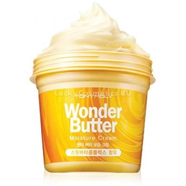 Tony Moly Wonder Butter Moisture CreamНовый питательный крем от популярного косметического бренда Тони Моли создан для полноценного ухода за кожей тела и лица. Этот универсальный крем является абсолютно безопасным, он тщательно протестирован, поэтому не вызывает никаких кожных высыпаний и других побочных эффектов. Подходит абсолютно для всех типов кожи. Он питает кожу, наполняет ее влагой, увлажняет, бережет от вредного воздействия повышенных и пониженных температур, а также ультрафиолетовых лучей.<br><br>В состав Wonder Butter Moisture Cream входит большое количество натуральных масел, которые невероятно полезны для кожи. Масло Ши, манго и какао &amp;ndash; способствуют регенерации кожи, восстанавливают, питают ее и придают ей эластичность. Кроме того, универсальный крем имеет стойкий противовоспалительный эффект &amp;ndash; он отлично заживляет мелкие трещинки на коже и улучшает ее защитные функции.<br><br>Питательный крем не содержит животных жиров и парабенов, подходит даже для самой нежной кожи.<br><br>&amp;nbsp;<br><br>Объём: 300 мл<br><br>&amp;nbsp;<br><br>Способ применения:<br><br>Нанесите питательный крем на сухую, чистую кожу тела и лица (избегая участков вокруг глаз), оставьте до полного впитывания.<br>