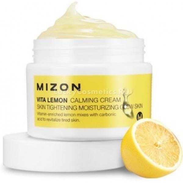Успокаивающий крем с лимоном Mizon Vita lemon calming cream 50 mlЛимонный крем Vita Lemon Calming Cream успокаивает раздражённую и поддерживает уставшую от стресса кожу, а также предотвращает проявления фотостарения. Он оказывает интенсивное отбеливающее действие, повышает эластичность и помогает оздоровиться коже, защищая покровы от воздействия свободных радикалов.<br><br>Экстракт лимона в тандеме с ниацинамидом блокирует синтез меланина в клетках эпидермиса, благодаря чему предотвращается возникновение новой пигментации.<br><br>Крем имеет лёгкий цитрусовый аромат и легко ложится на кожу, высыхая без остатков и жирной плёнки.<br><br>Запатентованный компонент<br><br>Витамин С не может просто так проникнуть через мембраны клеток кожи &amp;mdash; для этого требуется специальная молекула-транспорт, без которой даже концентрат аскорбиновой кислоты на коже не принесёт никакой пользы.<br><br>Специалисты Mizon внедрили в лимонный крем запатентованное вещество, транспортирующее витамин С в клетки, что значительно усиливает полезные свойства крема &amp;mdash; антиоксидант быстрее нейтрализует токсины и отбеливает кожу, в чём вы можете убедиться уже после нескольких применений.<br><br>&amp;nbsp;<br><br>Объём: 50 мл<br><br>&amp;nbsp;<br><br>Способ применения:<br><br>Регулярное использование лимонного крема предусматривает утреннее и вечернее нанесение средства на кожу тонким слоем. После нанесения крем должен высохнуть до конца, что происходит не очень быстро, зато формирует влагоудерживающую плёнку на поверхности эпидермиса, поэтому сверху можно смело накладывать макияж, так как это только поможет декоративной косметике прочно и незаметно лечь на кожу.<br>