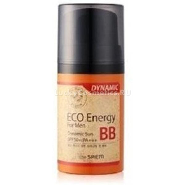The Saem Eco Energy For Men  Dynamic Sun BB SPF  PAББ-крем &amp;ndash; это тональное средство с ухаживающими свойствами, которое помогает быстро восстановить кожу после травмирования и скрыть дефекты ее рельефа. Eco Energy For Men Dynamic &amp;ndash; бб-крем с высоким SPF для мужчин, который не только поможет замаскировать повреждения и высыпания на коже, но и защитит ее от фотоповреждения, ускорит процессы заживления и остановит воспалительные процессы. Кроме того, главное преимущество этого бб-крема &amp;ndash; его абсолютная незаметность на коже, подстраиваясь под ее тон средство совершенно неразличимо для взгляда.<br><br>Аденозин в составе крема убирает гиперпигментацию, гиалуроновая кислота поддерживает гидробаланс в течение всего дня, антисептические экстракты (гинкго билоба, розмарин и чайное дерево) усиливают местный иммунитет, а лаванда убирает раздражения. Питание кожи в течение всего дня обеспечивают экстракты шиповника и гибискуса.<br><br>Крем моментально впитается в кожу, не оставляя липкой пленки на ее поверхности, не оставит также следов на одежде и на телефоне.<br><br>&amp;nbsp;<br><br>Объём: 50 г<br><br>&amp;nbsp;<br><br>Способ применения:<br><br>Крем вбивается подушечками пальцев в очищенную кожу, при этом наносится в несколько этапов. Первый этап &amp;ndash; нанесение тончайшего слоя средства, чтобы выровнять тон кожи, убрать неровности, покраснения и шелушения. Второй этап &amp;ndash; спустя две-три минуты, когда средство уляжется на коже и станет незаметным, нанести его повторно, но теперь только на проблемные участки &amp;ndash; ссадины, синяки, воспаления, пятна.*<br>