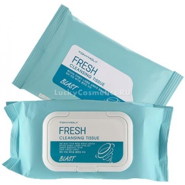 Tony Moly Blast Fresh Cleansing TissueВлажные очищающие салфетки от компании Tony Moly для бережного очищения кожи выпускаются по 15, 30 и 70 штук в упаковке. Активными компонентами салфеток являются натуральные масла и содовый порошок. Содовый порошок бережно удаляет любые загрязнения и отмершие клетки с кожного покрова, позволяя клеткам получать больше кислорода. Натуральные масла, в числе которых масло лаванды, жожоба, авокадо, арганы и оливы, позволяют поддерживать необходимый уровень влаги в кожных тканях, избавляют от сухости, тонизируют и питают. Масла ухаживают за кожей, помогают остановить возрастные изменения, придают свежесть и сияние. В составе очищающих салфеток отсутствуют синтетические красители, парабены и бензофенон.Объём: 15 штукСпособ применения:Вынуть салфетку из упаковки и очистить лицо от макияжа, следуя массажным линиям.<br>
