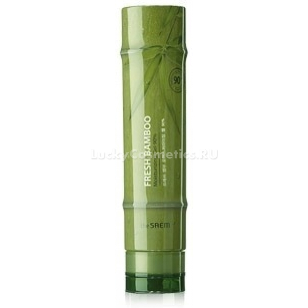 Увлажняющий гель для тела The Saem Fresh Bamboo Moisturizing Gel 90%Гель для тела, предлагаемый азиатским брендом The Saem, на 90% состоит из экстракта листьев бамбука и сердцевины стеблей. Этот компонент за его восхитительные свойства высоко ценят азиатские косметологи. Он восстанавливает водно-липидный баланс кожи, питает и увлажняет ее. Косметический продукт моментально тонизирует кожу и насыщает ее питательной влагой.<br><br>Также в составе средства можно увидеть экстракты шиповника, манго, иланг-иланга, барбадосской вишни, портулака, масла подсолнечника и кокосового ореха. Благодаря чудесным свойствам этого богатого витаминного коктейля, гель легко справляется с раздражением, шелушениями и сухостью<br><br>Главный действующий ингредиент – экстракт бамбука в изобилии содержит природный кремний, который является эффективным борцом со старением. Регулярное использование геля позволяет укрепить кожу, освежить ее, разгладить небольшие морщинки и предотвратить появление новых.<br><br>После нанесения кожа получает мгновенное питание без ощущения липкости и стянутости. Радует глаз интересный флакон продукта, который производитель выполнил в виде зеленой веточки бамбука.Объём: 260 млСпособ применения:Гель следует нанести на чистую сухую кожу тела. Распределять – мягкими массажными движениями.<br>