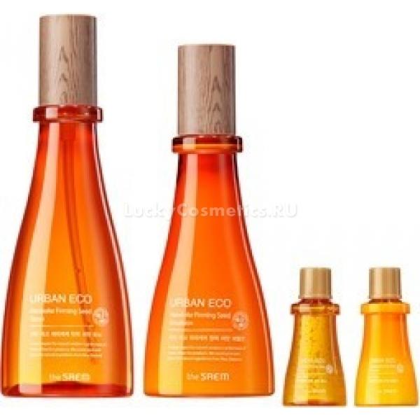 The Saem Urban Eco Harakeke Firming Seed  SetС набором от корейского бренда The Saem каждая женщина может обеспечить мульти-уход за своей кожей. Средства линии, укрепляющей кожу, разработаны на основе экстракта новозеландского льна, улучшающего общее состояние кожи.<br><br>Главный действующий компонент тонера и эмульсии оказывает на кожу успокаивающее и смягчающее действие. Растительный ингредиент широко используется для лечения воспалений кожи. Он обладает антисептическим действием и ускоряет процессы заживления кожи.<br><br>Также в составе уходовых продуктов содержатся экстракты календулы, меда мануки, пантенол и аденозин. Эти компоненты избавляют от морщинок, улучшают тонус кожи, придают лицу однородный оттенок и препятствуют преждевременному старению.<br><br>Тонер и эмульсия обладают легкой консистенцией, поэтому хорошо усваиваются кожей. Регулярное и комплексное использование продуктов вернет уставшей коже эластичность и упругость, насытит влагой и питательными веществами.<br><br>&amp;nbsp;<br><br>Объём: 180мл+140мл+20мл+20мл<br><br>&amp;nbsp;<br><br>Способ применения:<br><br>Тонер нанесите на чистое лицо легкими похлопывающими движениями. Затем нанесите эмульсию по массажным линиям и дождитесь полного впитывания.<br>