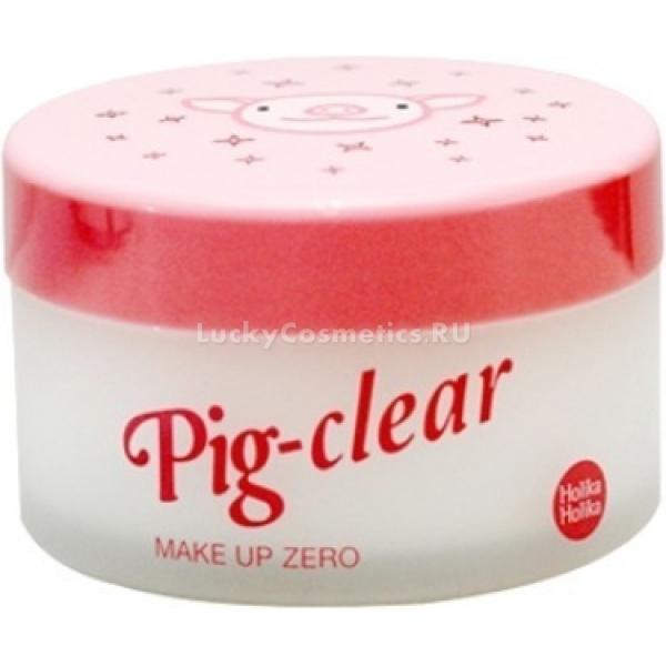 Holika Holika Pigclear Make Up ZeroОригинальное очищающее средство, выполненное в форме щербета, заключенного в баночку с довольным розовым поросенком. Щербет представляет собой мягкую рассыпчатую массу, которая тает при попадании на кожу и выполняет функции массажного и гидрофильного масел. Это чудесное средство имеет ярко выраженные увлажняющие и омолаживающие свойства, так как изготовлено на основе подходящего для нашей кожи коллагена, добытого из хрящей и кожи молочных поросят.<br><br>Экстракт папайи и алоэ вера дополняют эффект от коллагена. Эти растительные компоненты помогают очистить, увлажнить и обогатить кожу необходимыми питательными веществами.<br><br>&amp;nbsp;<br><br>Объём: 100 мл<br><br>&amp;nbsp;<br><br>Способ применения:<br><br>С помощью мерной ложечки наберите немного очищающего щербета и распределите его по коже массирующими движениями, пока он не растает под воздействием тепла. Смойте крем теплой водой и промокните лицо полотенцем. Для сужения пор и более выраженного матирующего эффекта средство рекомендуется хранить в холодном месте.<br>
