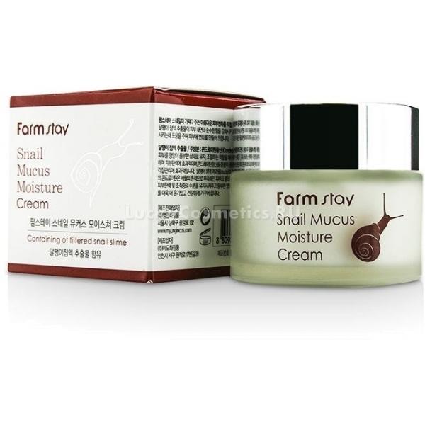 FarmStay Snail Mucus Moisture CreamКрем с активным концентратом муцина улитки FarmStay Snail Mucus Moisture Cream обладает выраженным осветляющим, противовоспалительным, заживляющим, а также лифтинговым эффектом. Уже заслужившие любовь и доверие среди россиянок средства с улиточным экстрактом в короткие сроки приводят кожу в порядок, избавляя от ряда проблем:<br><br>&amp;uuml; Осветляющие свойства слизи улитки позволяют бороться с гиперпигментацией, пятнами от акне.<br><br>&amp;uuml; Восстановительные функции, которые запускаются при ежедневном использовании крема, позволяют разгладить кожный покров, скрыть рубцы от прыщей, сократить количество морщин и сделать цвет лица однороднее и чище.<br><br>&amp;uuml; Муцин улитки обладает бактерицидным действием, он подсуживает прыщи, препятствует возникновению новых.<br><br>&amp;uuml; Обладает лифтинговыми свойствами, которые станут заметны сразу же после нанесения.<br><br>&amp;uuml; Крем на основе концентрата улитки наполняет кожу ценной жидкостью, устраняет сухость, укрепляет ее защитные функции, обновляет клетки эпидермиса.<br><br>&amp;nbsp;<br><br>Объём:&amp;nbsp;50 г<br><br>&amp;nbsp;<br><br>Способ применения:<br><br>В качестве завершающего этапа повседневного ухода за лицом, нанести средство на чистую тонизированную кожу аккуратными массажными движениями.<br>
