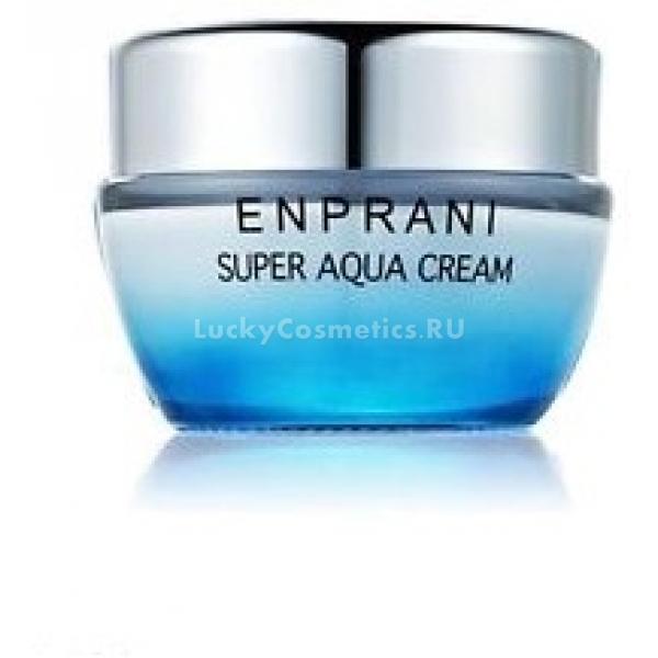 Enprani Super Aqua CreamEnprani Super Aqua Cream – крем для ухода за сухой кожей лица. Продукт входит в серию косметики на ледниковой воде Super Aqua косметической марки Enprani. Он представлен в упаковке объемом 200 мл, которую удобно носить с собой. Текстура крема невесомая. Он мгновенно впитывается и сразу начинает выполнять свою функцию – доставку полезных веществ в кожу.<br>В составе крема – ледниковая вода, которая отлично увлажняет кожу, придает ей сияние и здоровый отдохнувший вид; экстракт ромашки питает и тонизирует; ментол обеспечивает способность кожи противостоять вредному воздействию окружающей среды, а также снимает воспаления и покраснения, способствует улучшению состояния проблемной кожи с угревой сыпью или черными точками.<br>При регулярном использовании крема Enprani Super Aqua Cream кожа становится свежей, сияющей, молодой и здоровой.Объём: 200 млСпособ применения:Очистить лицо от косметических средств и загрязнений и нанести тоник. Крем Enprani Super Aqua Cream распределить по всему лицу и массажными движениями нанести до полного впитывания. Использовать каждый день.<br>