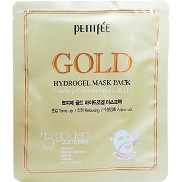 Petitfee Gold Hydrogel Mask PackМаска с золотом на гидрогелевой основе &amp;ndash; это не только средство экстренного восстановления кожи после стресса, но и профилактика ее старения. Активные ингредиенты &amp;ndash; березовый сок, натуральные экстракты женьшеня и алоэ, плодов юдзу, полыни и натуральные масла &amp;ndash; касторовое и авокадо &amp;ndash; в синергетическом действии возвращают лицу упругость и свежесть.<br><br>Гидрогелевая основа обеспечивает плотное сцепление маски с поверхностью кожи и проникновение активных ингредиентов в глубокие слои дермы. Золото способствует проникновению компонентов внутрь клеток и усиливает метаболизм в коже, стимулируя питание фибробластов и процессы регенерации.<br><br>Спрессованный гель с растворенными полезными компонентами тает при соприкосновении с кожей, транспортируя целебные экстракты. Масло авокадо восстанавливает липидную защиту кожи, делая ее более устойчивой к внешним воздействиям, алоэ стимулирует самообновление клеток, заживляет рубцы, а сок березы разглаживает неровности микрорельефа и придает нежное сияние.<br><br>&amp;nbsp;<br><br>Объём: 32 г<br><br>&amp;nbsp;<br><br>Способ применения:<br><br>Наносить маску необходимо на предварительно очищенную и тонизированную кожу &amp;ndash; распределите гидрогелевую основу на лице и оставьте на 15-20 минут для воздействия. Все это время желательно провести в спокойном и расслабленном состоянии, чтобы разгладились даже мельчайшие мимические морщинки. Остатки эссенции смывать необязательно, спустя двадцать минут можно нанести дополнительное увлажняющее средство.<br>