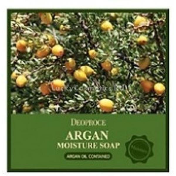 Deoproce Argan Moisture SoapУвлажняющее мыло с аргановым маслом годится для любого типа кожи. Его смело можно использовать обладательницам чувствительной, зрелой или поврежденной кожи. Во время использования Argan Moisture Soap образует нежную пену, бережно  ухаживает за лицом.<br>Масло арганы, имеющееся в составе мыла, является ценным и редким компонентом. Оно обладает высоким содержанием витаминов E и F. Известно своими обширными полезными свойствами: питает, увлажняет, смягчает и отлично тонизирует. Оно разглаживает неглубокие морщинки, уменьшает выраженность глубоких морщин, заметно повышает упругость кожи, работает как антисептик. За счет отличного омолаживающего воздействия, данное мыло незаменимо для увядающей кожи.<br>Также аргановое масло заметно ускоряет заживление воспалений, хорошо устраняет шелушения. При регулярном использовании оно предотвратит появление пятен пост-акне, шрамов.Объём: 100 гСпособ применения:Вспенить мыло и пенку, находящуюся в ладонях, нанести на лицо аккуратными массирующими движениями. Хорошо смыть.<br>