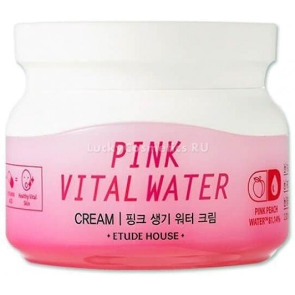 Etude House Pink Vital Water CreamС кремом корейского производителя вы узнаете, что такое по-настоящему шелковистая и нежная кожа. Волшебный состав на 80% состоит из органической персиковой воды.<br>Концентрат из персика богат эфирными маслами, кислотами, витаминами, микроэлементами и каротиноидами, которые благотворно действуют на увядающую и дряблую кожу. Вода «оживляет» уставшую кожу, придает ей красивый здоровый цвет, подтягивает и регенерирует.<br>Антиоксидант коэнзим Q10 в составе крема активизирует выработку кожей собственных белков, а также останавливает разрушительное окисление тканей свободными радикалами. Экстракты какао и портулака улучшают микроциркуляцию крови в дермальных покровах, интенсивно борются с рубцами и неоднородным цветом лица.<br>Сливочная текстура крема легко наносится на лицо, быстро поглощается кожей и оставляет ощущение комфорта и волшебной свежести. Каждодневное использование крема позволяет добиться стабильного эффекта: избавиться от морщинок, выровнять рельеф и подтянуть контур лица.<br><br>Для гигиеничного нанесения средства производитель оснастил баночку удобной пластиковой ложечкой.Объём: 60 млСпособ применения:Крем нанесите на лицо после тонизирования. Для более глубокого воздействия приложите к лицу ладони.<br>