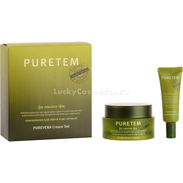 Welcos Puretem Purevera Cream SetНабор состоит из двух средств на основе экстракта алоэ вера: крема и смягчающего геля.<br><br>Крем позволяет нормализовать процессы выделения кожного сала, успокаивает нежную кожу и снимает воспалительные процессы.<br><br>Гель делает кожу лица более мягкой, увлажненной, устраняет шелушение и воспаление.<br><br>Средства серии могут подходят для женщин и девушек с любим типом кожи, т.к. алоэ вера решает различные проблемы:<br><br><br>излишняя сухость;<br>воспаления на коже;<br>раздражение;<br>шелушение;<br>повышенная жирность;<br>первые проявления увядания кожи.<br><br><br>Компоненты средств набора позволяют также решить проблему пигментации кожи. После регулярного применения крема и геля этой серии существенно уменьшаются пятна от постакне.<br><br>Гель и крем могут быть использованы для защиты кожи от старения, вызванного ультрафиолетовым излучением.<br><br>Благодаря увлажняющим свойствам алоэ крем и гель оказывают глубокое воздействие и устраняют первые признаки старения, мелкие морщины.<br><br>&amp;nbsp;<br><br>Объём: крем 50 мл гель 5 мл<br><br>&amp;nbsp;<br><br>Способ применения:<br><br>Крем наносят на очищенную от декоративной косметики кожу лица. Легкими движениями его следует распределить на поверхности кожи, и позволить ему впитаться.<br><br>Гель наносится аналогичным способом. Также он может использоваться как маска для лица. Для этого его следует нанести толстым слоем на полчаса, затем теплой водой смыть остатки.<br>