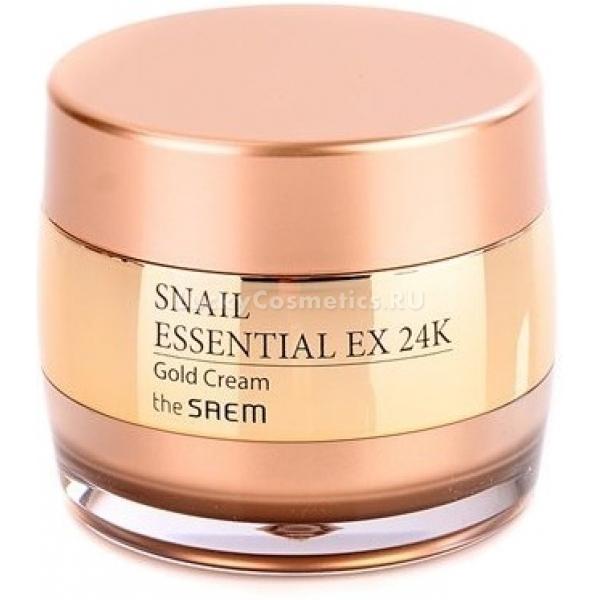The Saem Snail Essential EX K Gold CreamЭтот высокоэффективный крем класса «люкс» от The Saem обладает способностью омолодить кожу лица, придать ей сияние и свежесть изнутри. В его составе содержится 24-каратное золото, экстракт улиточной слизи, а также много других компонентов, которые интенсивно воздействуют на кожу, чтобы вернуть и продлить ее молодость.<br>Компоненты Essential EX 24K увлажняют, придают упругость, разглаживают морщинки, избавляют от пигментных пятен и выравнивают кожу.<br>Частицы золота избавляют от омертвевших клеток, улучшают микроциркуляцию крови, активизируют синтез коллагена, предотвращают потерю влаги клетками кожи, ускоряют процессы клеточного обновления.<br>Секрет улитки является эффективным омолаживающим веществом. Он активизирует выработку коллагена и эластина, уменьшает количество глубоких морщин, совершенствует кожный микрорельеф, придает упругость, избавляет от пигментации, воспалений, раздражений и шелушений. Помимо этого, улиточная слизь обладает мощным антиоксидантным действием: она способна нейтрализовать действие окислителей на кожу.<br>Вытяжка граната в составе средства прекрасно тонизирует, увлажняет, питает, делает контуры лица четче, а кожу эластичнее. Кроме этого, Snail Gold Cream обладает противовоспалительными, антиоксидантными и отбеливающими свойствами, а также активизирует обновление клеток и выравнивает тон лица.<br>Ниацинамид способствует интенсивному осветлению, он блокирует выработку пигмента, разглаживает морщинки, придает коже защитные функции.<br>Аденозин интенсивно тормозит процессы увядания, он способствует исчезновению морщин, защищает от свободных радикалов, продлевает молодость кожи. Помимо этого, он способствует активной выработке коллагена, благодаря чему кожа приобретает тонус и упругость, а морщины разглаживаются.Объём: 50 мл.Способ применения:Наносить крем на кожу после процесса очищения и тонизирования, распределить равномерно, массажными движениями впитать.<br>